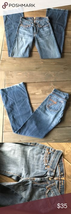7 for all mankind jeans Size 25 jeans... inseam is 31 inches...normal wear and tear around the bottom.  If interested, don't hesitate to make an offer! 👍🏻 7 For All Mankind Jeans Flare & Wide Leg