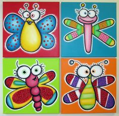 HaPPy BuGs - set of 4 original paintings on canvas for baby or kid room, nursery wall art, playroom decor. via Etsy. Painting For Kids, Diy Painting, Art For Kids, Art Children, Children Painting, Kids Canvas, Diy Canvas Art, Painted Canvas, Kids Room Paint