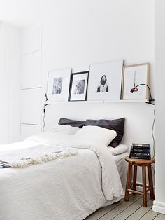 simple bedroom, white, wood, art