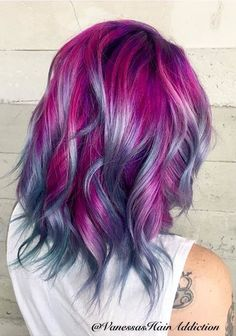 Crazy hair colour ideas for medium and short hair 21 - Fashion Best hair color ideas for short hair - Hair Color Ideas Bright Hair Colors, Hair Color Purple, Cool Hair Color, Colorful Hair, Pink Purple, Lavender Colour, Color Blue, Lavender Hair, Lilac Hair