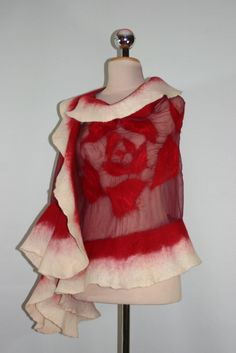 felted scarf, nunofelt shawl, poncho, felted scarf, silkyfelted, felt, silk, nuno, red silk scarf, red felted scarf, made in poland, gift, Transparent,
