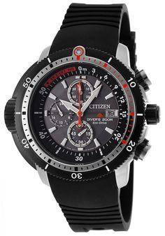 Citizen Men's Eco-Drive Pro Master Aqualand Chronograph Black PolyurethaneCitizen BJ2128-05E Watch