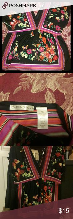 Blouse Very pretty, V neck front and back, gently worn, bell sleeves Caron Sport Tops Blouses