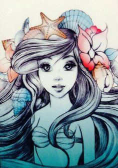 For all those mermaid fans, this would be a beautiful tattoo/ ariel mermaid/ tattoo ideas