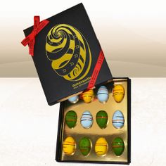 Luxury Chocolate #Easter Egg Gift Box (12 Quails sized Chocolate Caramel Eggs) Yumm #packaging PD