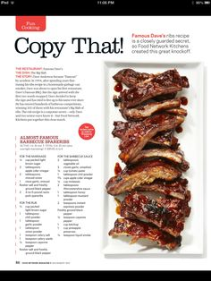The Best Barbeque Ribs you have ever tasted - Recipes Junkie Rib Recipes, Grilling Recipes, Cooking Recipes, Smoker Recipes, Chicken Recipes, Pork Ribs, Bbq Ribs, Barbecue, Copykat Recipes