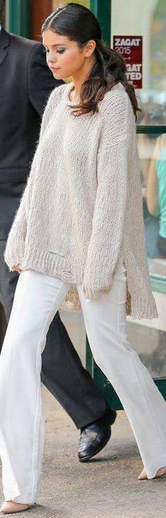Who made  Selena Gomez's white pants and tan sweater?