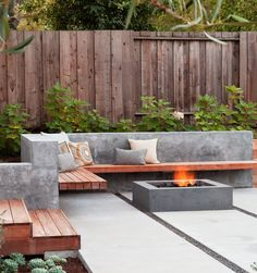 Square fire pit design idea for a small courtyard