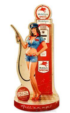 Mobilgas Pump Pinup Girl Die Cut Garage Metal Sign