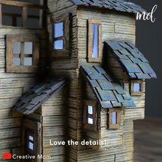 Diy Crafts Hacks, Diy Home Crafts, Diy Arts And Crafts, Creative Crafts, Miniature Crafts, Miniature Houses, Diy Pour Enfants, Cardboard Crafts, Cardboard Houses
