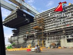 Carnival Cruise Lines' newest cruise ship, Carnival Vista, is currently under construction at the Fincantieri shipyard in Italy. Cruise Ship Pictures, Discount Cruises, Carnival Breeze, Royal Caribbean International, Norwegian Cruise Line, Alaska Cruise, Construction, Vacation, June