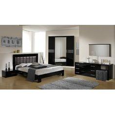 Moon Italian Modern Bedroom Set w/Crocodile Eco-Leather Headboard and Multitoned Black Nightstands