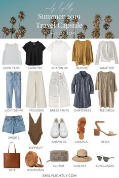 What's in My Summer 2019 Travel Capsule Wardrobe – Emily Lightly // capsule . - What's in My Summer 2019 Travel Capsule Wardrobe – Emily Lightly // capsule wardrobe, minimal style, travel outfit ideas, slow fashion Source by - Travel Outfit Summer, Summer Outfits, Travel Clothes Summer, Summer Travel Fashion, Travel In Style, Packing Light Summer, Summer Travel Packing, Weekend Packing List, Beach Vacation Packing
