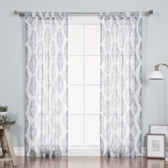 Darby Home Co Baynham Medallion Damask Sheer Curtain Panels Color: Navy Tab Top Curtains, Sheer Curtain Panels, Blue Curtains, Sheer Curtains, Panel Curtains, Traditional Curtains, Rose Street, Contemporary Curtains, All Modern