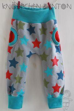 Babyhose - Faux-Pocket-Pants - Sweat - Superstars von Knöpfchen und Anton auf DaWanda.com