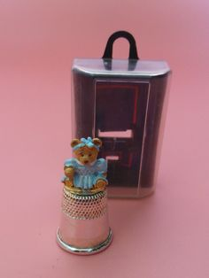 Teddy Bear In Blue Dress HAND PAINTED Metal Thimble Boxed