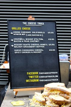 The Cheese Truck, Grilled Cheese Menu at Maltby Street Market in London