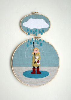 cool wall hanging decor - 2 embroidery hoops