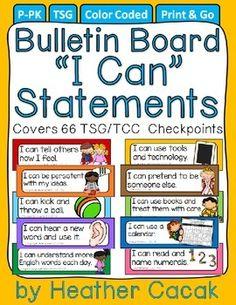 "Bulletin Board ""I Can"" Statement Cards {TSG Head Start Pre-K}"
