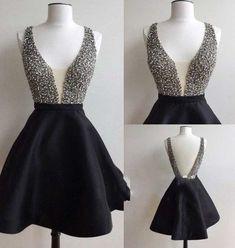 Cute Homecoming Dress,Satin Homecoming Dress,V-Neck Graduation Dress,Sequined…