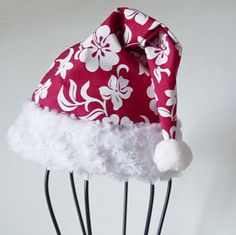 Tropical Santa Hat Red & White Tropical by delaMarCollection