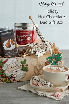 'Tis the season for sipping from steaming mugs of gourmet hot chocolate while sitting by the fire as the snow falls outside. Make new warm memories this Christmas season with this delicious Christmas gift filled with peppermint and milk chocolate cocoa. Holiday Gift Guide, Holiday Ideas, Holiday Gifts, Christmas Gifts, Chocolate Basket, Hot Chocolate, Gift Mugs, Gifts In A Mug, Snow Falls