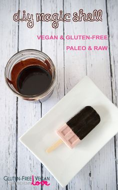 {Gluten-Free, Vegan, Paleo, Raw, Refined Sugar-Free} Making your own dairy-free or vegan magic shell is probably one of the easiest things ever. It basical Paleo Dessert, Gluten Free Desserts, Vegan Desserts, Vegan Gluten Free, Gluten Free Recipes, Dairy Free, Paleo Sweets, Vegetarian Paleo, Dessert Recipes