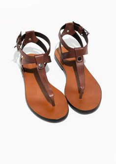 & Other Stories   T-Strap Leather Sandals