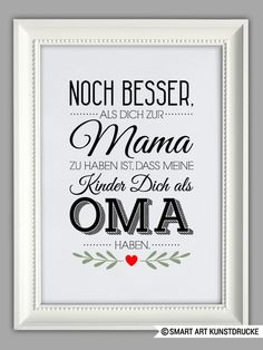 """Original print – """"BEST OMA"""" art print, Mother's Day gift – a unique product by Smart-Art-Art on DaWanda by kathisebi Crafts For Teens To Make, Crafts To Sell, Diy And Crafts, Easy Crafts, Diy Gifts For Men, Diy Mothers Day Gifts, Diy Canvas Art, Canvas Art Prints, Smart Art"""