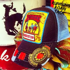 Ball Cap with Vintage NFR Rodeo Patch, Leather Lacing and Native American Butterfly Concho by Running Roan Tack