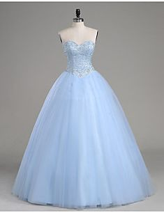 2017+Formal+Evening+/+Quinceanera+Dress+A-line+Strapless+Floor-length+Tulle+with+Beading+–+USD+$+455.00
