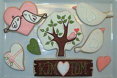 Anniversary Cookies I made these for a friend ? The wedding colors were peach and white years ago), so I. Bird Cookies, Fancy Cookies, Sweet Cookies, Royal Icing Cookies, Cookies And Cream, Cupcake Cookies, Sweet Treats, My Sweet Valentine, Valentine Cookies