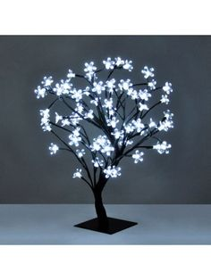 LED Bonsai Tree Table Lamp with Cool White Lights