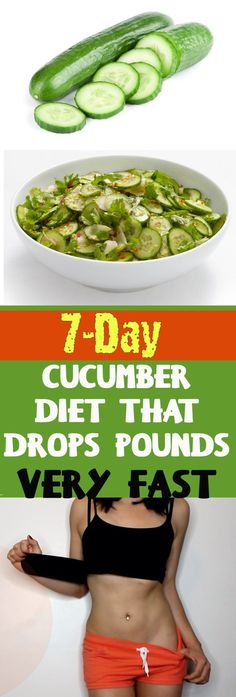 Cucumber diet is 1 week diet based on consuming cucumber in your daily diet. This delicious green vegetable can be used for wellness treatments, some home beauty treatments and facial masks because of its beneficial effect on skin. Diet Plans To Lose Weight, How To Lose Weight Fast, Lose Fat, 1 Week Diet, Healthy Tips, Healthy Recipes, Healthy Snacks, Eating Healthy, Stay Healthy