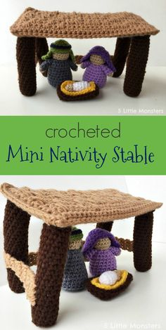 Crochet stable, back pillars shorter, connecting pieces floor to halfway up? Christmas Crochet Patterns, Crochet Christmas Ornaments, Holiday Crochet, Christmas Toys, Christmas Knitting, Crochet Gifts, Crochet Yarn, Crochet Toys, Merry Christmas