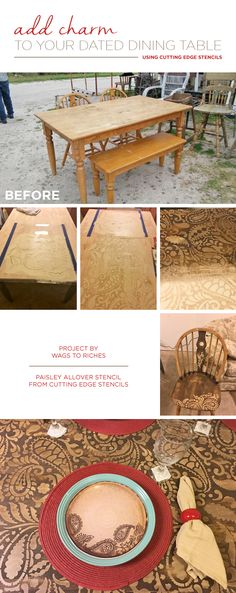 A DIY stenciled dining table makeover using the Paisley Allover Stencil from Cutting Edge Stencils. http://www.cuttingedgestencils.com/paisley-allover-stencil.html