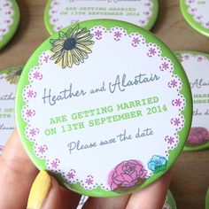 Sunflower floral green save the date magnets
