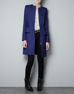 STRUCTURED COAT WITH A FRILL AT THE HIP - Coats - Woman - ZARA United States #alishopspinfest