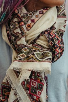 Off White Indian Shawl Wrap Handmade Embroidered Shawl by Hanamer