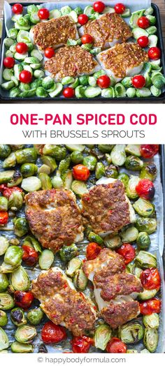 Sheet Pan Spiced Cod With Brussels Sprouts & Cherry Tomatoes (Paleo, Low-Carb, Keto, Gluten-Free)