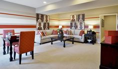 Love the graphic artwork and bold stripes in this finished basement. Cantonsville, MD [photo 15]