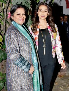 Shabana Azmi and Juhi Chawla at the premiere of their film 'Chalk N Duster'. #Bollywood #Fashion #Style #Beauty #Desi