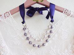 Purple and Silver  Necklace  Gray Purple Necklace by HOBIHOLIK, $16.00