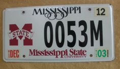 2003 Mississippi License Plate - 0053M ( MSU )