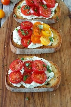 Fresh Tomato and Herbed Ricotta Bruschetta. A quick easy appetizer, featuring fresh tomatoes and herbed ricotta. Perfect for game day, potlucks, parties, BBQ's, or anytime as a light meal.