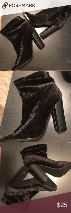 Women's size 7 NEW CHARLOTTE RUSSE BOOTIES Size 7 black booties! Very comfortable to walk in New without tags/box from Charlotte Russe   They are made to be loose around the ankle area which you can see in my last photo Charlotte Russe Shoes Ankle Boots & Booties