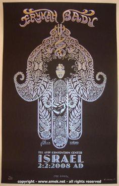 2008 Erykah Badu - Israel Silkscreen Concert Poster by Emek