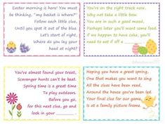 Easter basket scavenger hunt easter pinterest easter baskets easter scavenger hunt clues for kids easter basket gifts love this family fun game negle Gallery