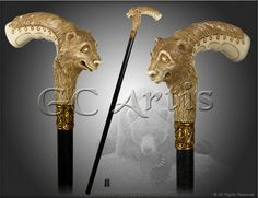 BEAR HEAD DESIGNERS walking stick cane authors made top by GCArtis