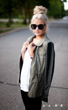Cute Fall army jacket with leather sleeves and shades and a topknot